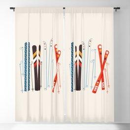 Retro Ski Illustration Blackout Curtain