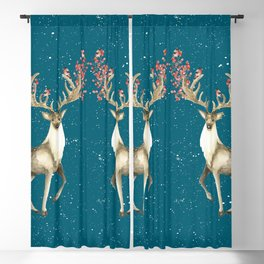 Deers With Birds Teal #society6 #buyart Blackout Curtain