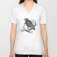 key V-neck T-shirts featuring Raven's Key by Rachel Caldwell
