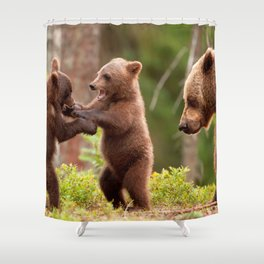 Majestic Brown Bear Mother With Two Little Cute Cubs Playing Ultra HD Shower Curtain