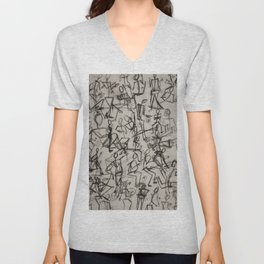 Charcoal Sketch Party People (diptych, part 1) Unisex V-Neck