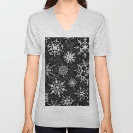 Gray Snowflakes Unisex V-Neck