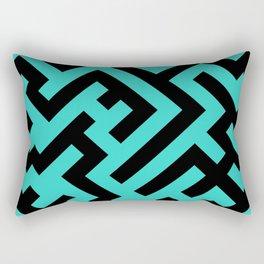 Black and Turquoise Diagonal Labyrinth Rectangular Pillow