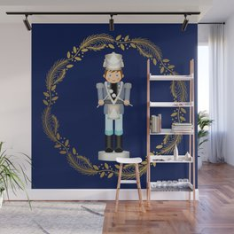 The Nutcracker Christmas Special - Drummer Boy in Golden Christmas Wreath (Royal Blue) Wall Mural