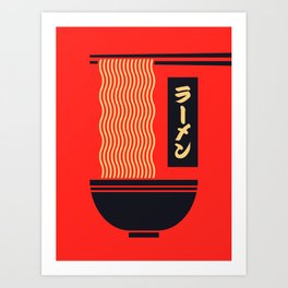 Ramen Japanese Food Noodle Bowl Chopsticks - Red Art Print