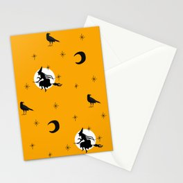 Halloween seamless pattern with flying witch, black crows Stationery Cards