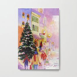 christmas eve shoppers Metal Print