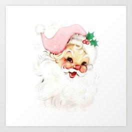 pink retro vintage santa Art Print