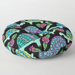 Colorful Tortoises Black Palette Floor Pillow