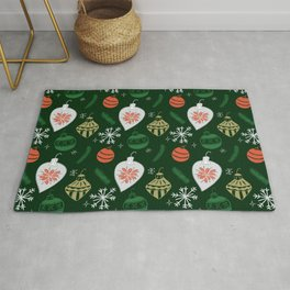 Retro Christmas Ornaments / Festive Holiday Tree / Snowflake / Mid Century Modern / Tree / Santa Rug