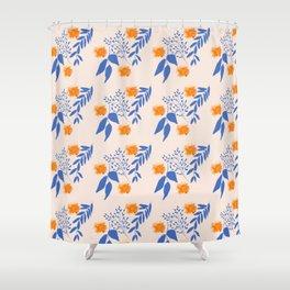 Floral Pattern Indigo Orange Blue Shower Curtain