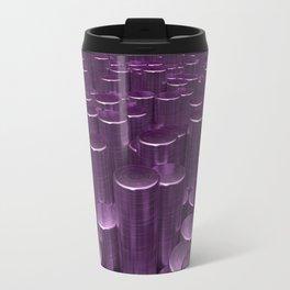 Pattern of purple brushed metal cylinders Travel Mug