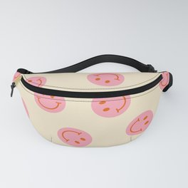70s Retro Smiley Face Pattern in Beige & Pink Fanny Pack