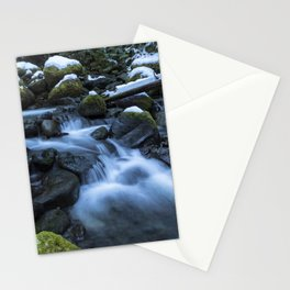 Snow, Moss, Water Over Rocks Stationery Cards