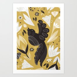 Birds & Bugs in Yellow Art Print