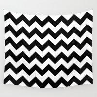 chevron Wall Tapestries featuring Chevron (Black/White) by 10813 Apparel