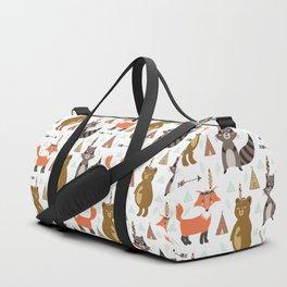 Bohemian orange brown forest animal arrows tribal pattern Duffle Bag