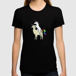 Unicorn Riding Llamacorn T-shirt