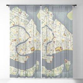 Venice city map antique Sheer Curtain