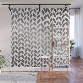 Cute knitting pattern - silver Wall Mural
