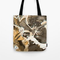 folk Tote Bags featuring Folk vs. Metal by Logan  Faerber