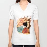geisha V-neck T-shirts featuring geisha by itssummer85