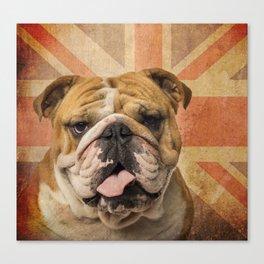 English Bulldog, Great Britain flag ! Canvas Print