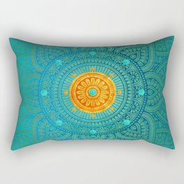 """Turquoise and Gold Mandala"" Rectangular Pillow"