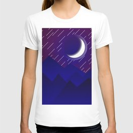 Crescent Moon in Night over the Mountains Nature Abstract art T-shirt