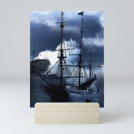 Old sailing ship on stormy sea Mini Art Print