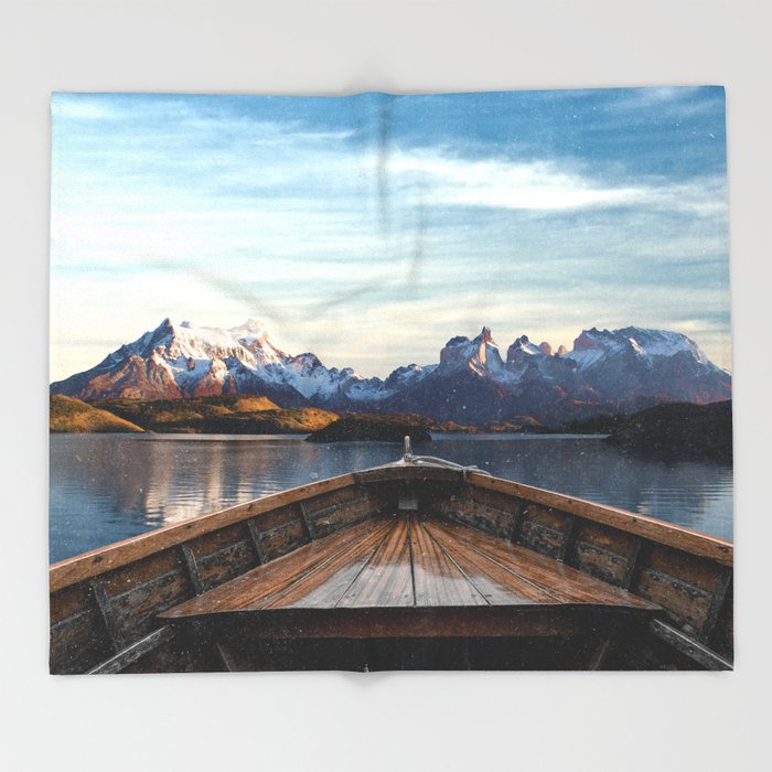 Torres del Paine National Park Chile, The Boat in Patagonia Throw Blanket