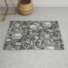 BITE ME roses and orchids BLACK WHITE Rug