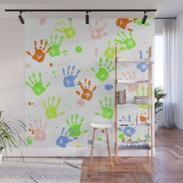 Hand Print Pattern Wall Mural