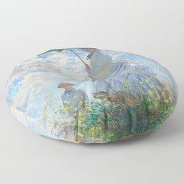 Portrait of Woman with Parasol by Claude Monet Floor Pillow