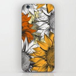 Beautiful pattern from hand drawn sunflowers iPhone Skin
