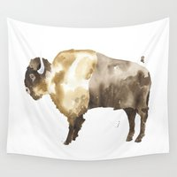 bison Wall Tapestries featuring Bison by THE AESTATE