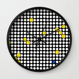 Halftone with Yellow Squares Wall Clock