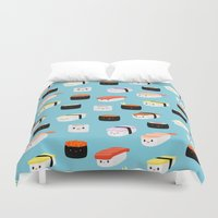 sushi Duvet Covers featuring Sushi! by Sara Showalter