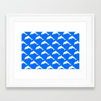 dolphins Framed Art Prints featuring Dolphins by The Wellington Boot