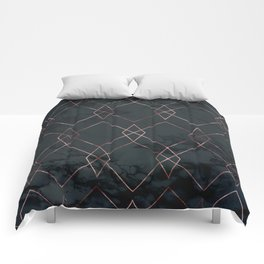 Modern Deco Rose Gold and Marble Geometric Dark Comforters