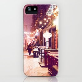 Winter Night with Snow in the East Village New York City iPhone Case