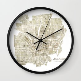 Jackson Mississippi watercolor city map Wall Clock