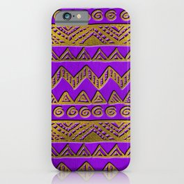 Ethnic  Golden Pattern  Swirl on Purple Leather iPhone Case