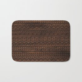 Aztec Tribal Andes Carved brown wood grain pattern Bath Mat