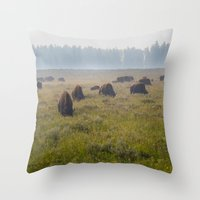 buffalo Throw Pillows featuring Buffalo by Claire Laminen Photo