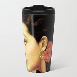 Mexican Calendar Girl in Profile by Jesus Helguera Travel Mug