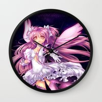 madoka magica Wall Clocks featuring Puella Magi Madoka Magica- Ultimate Madoka by StephanieIllustrations