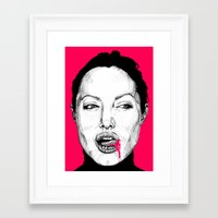 angelina jolie Framed Art Prints featuring Angelina Jolie by whisky milk