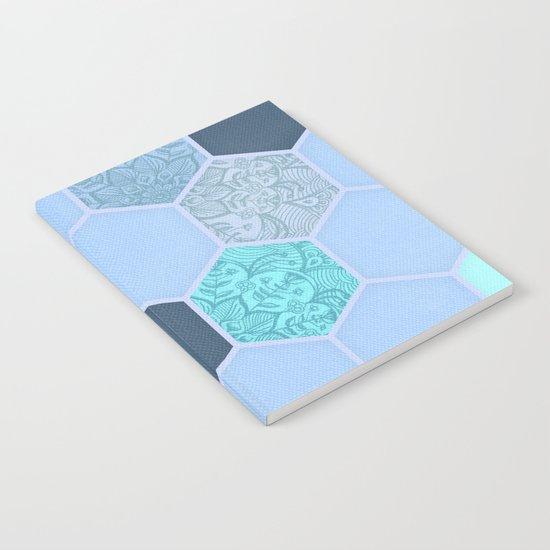 Denim Blue, Aqua & Indigo Hexagon Doodle Pattern Notebook