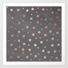 Rose gold Christmas stars geometric pattern grey graphite industrial cement concrete Art Print